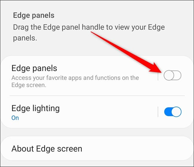 Samsung Galaxy S20 Toggle Off Edge Panel from the Settings Menu
