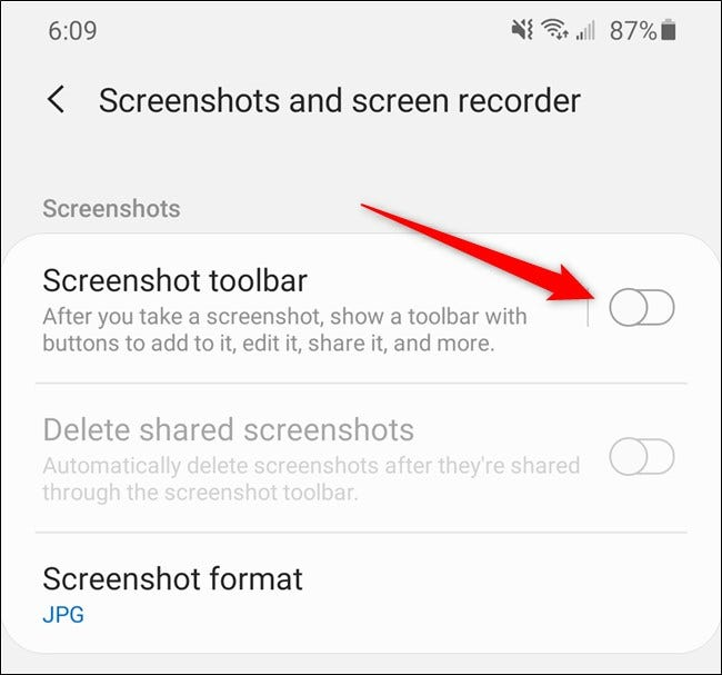 "Samsung Galaxy S20 Toggle Off ""Screenshot Toolbar."""