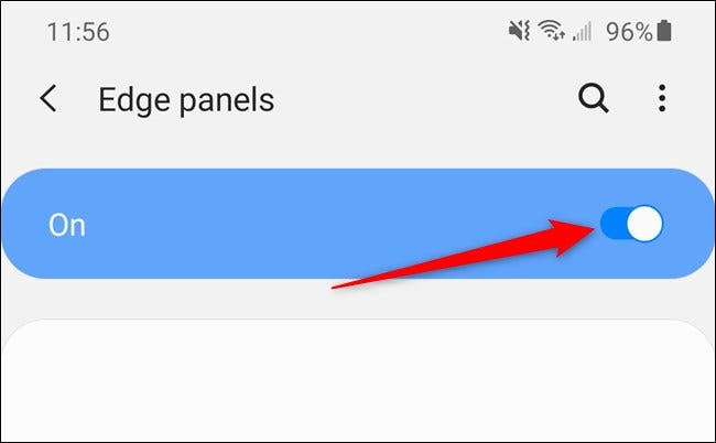 """Samsung Galaxy S20 Select the Edge Panels """"On"""" toggle"""