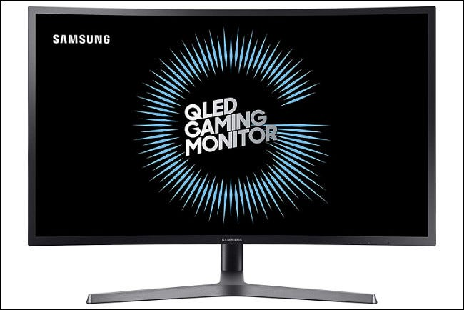 A Samsung C32HG70 monitor with a VA panel.