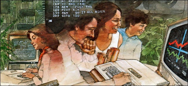 """An illustration of people using Apple II computers from the """"Applesoft BASIC Manual"""" published in 1978."""