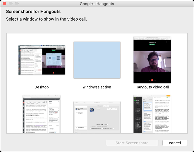 Specify Which Window to Share in Google Hangouts