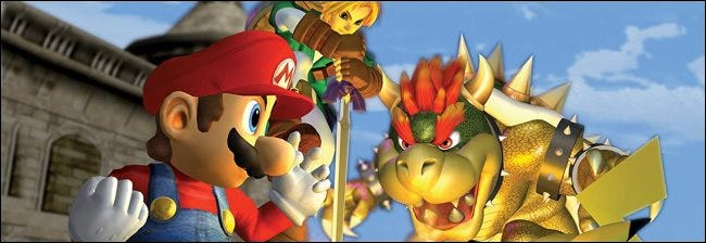 """The official box art for the """"Super Smash Bros. Melee"""" GameCube game, featuring Mario and Bowser."""