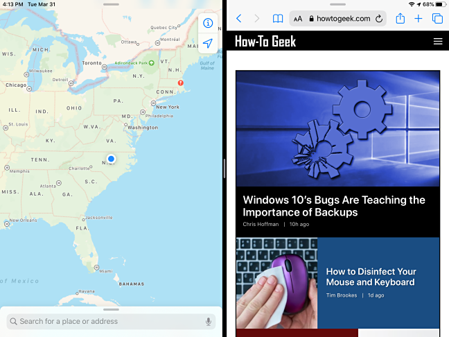 An example of Split View on the iPad
