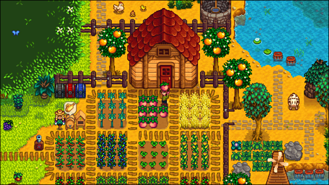 "A character farming in ""Stardew Valley."""