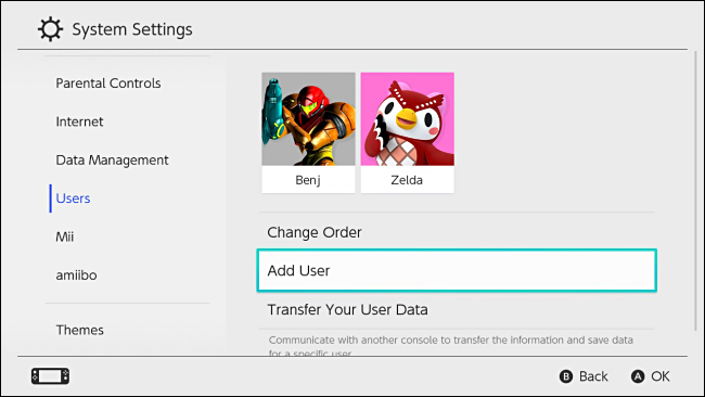 Nintendo Switch: Add User