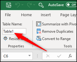 Naming an Excel table