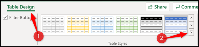 The table styles gallery on the Ribbon