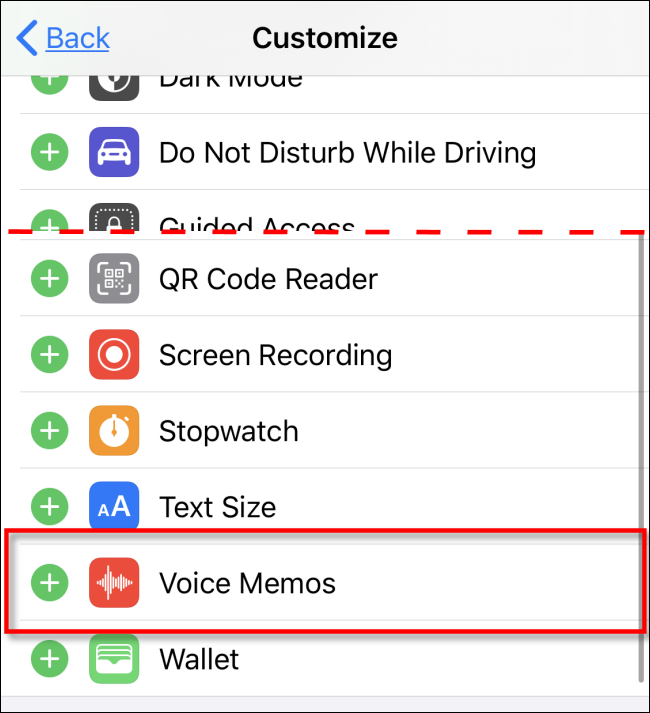 Select Voice Memos to add to Control Center