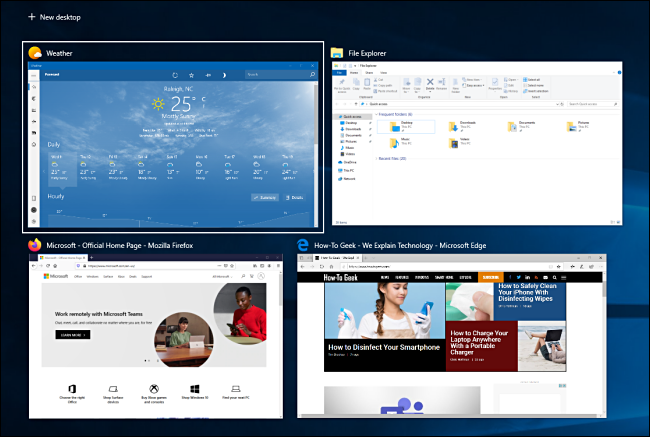 Four open windows in Task View on Windows 10.