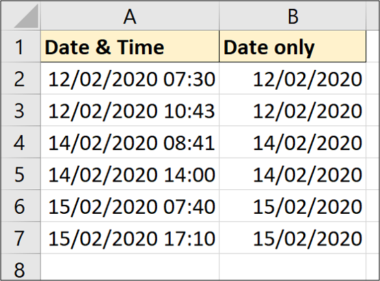 Time removed from a date in Excel
