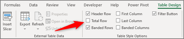 Total row checkbox on the ribbon