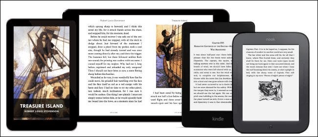 A free public domain ebook of Treasure Island on various tablet and e-readers.