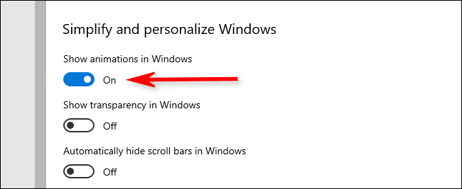 """Toggle-Off the """"Show Animations in Windows"""" option."""