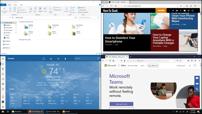 Four windows, each filling a quarter of the screen in Windows 10,