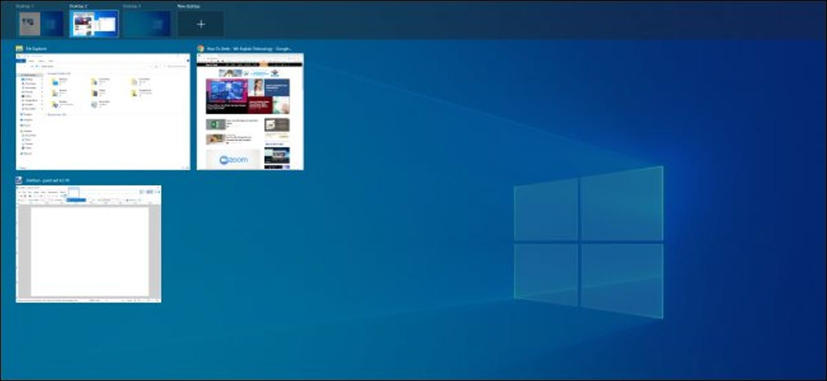 Task View interface on Windows 10.