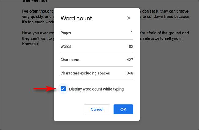 Marque la casilla junto a Mostrar el recuento de palabras mientras escribe en Google Docs