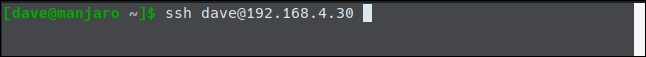 """The """"ssh dave@192.168.4.30"""" command in a terminal window."""