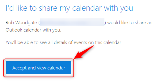 A calendar sharing emails displaying the button to add a shared calendar .