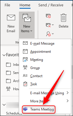 "The ""Teams Meeting"" option in Outlook's ""New Items"" menu."