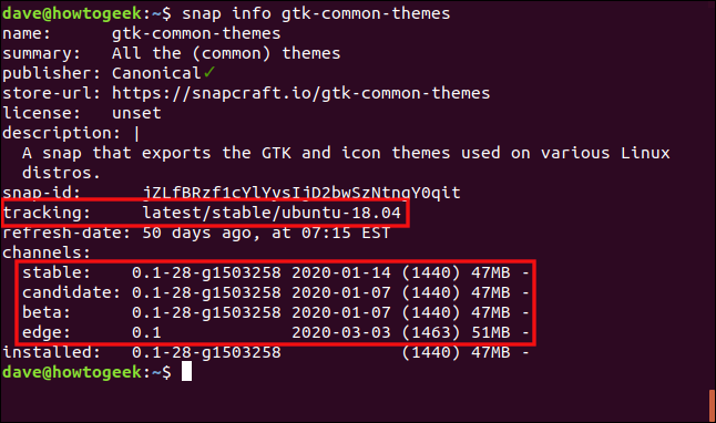 """The """"snap info gtk-common-themes"""" command in a terminal window."""