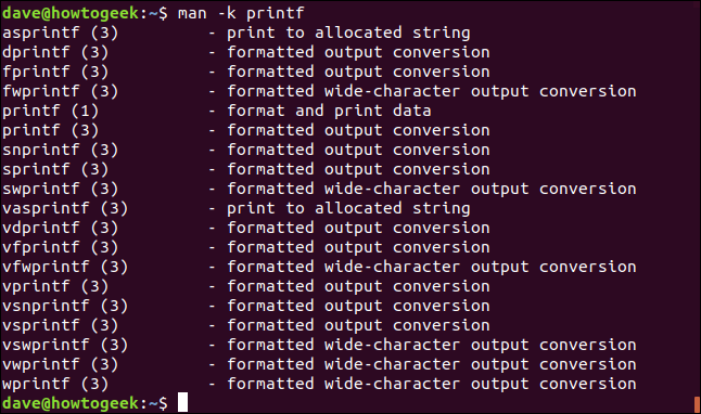 "The ""man -k printf"" command in a terminal window."