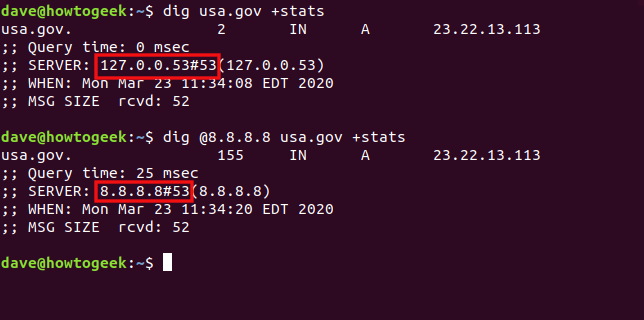 """The """"dig usa.gov +stats"""" and """"dig @8.8.8.8 usa.gov +stats"""" commands in a terminal window."""
