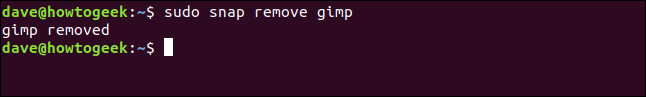 """The """"sudo snap remove gimp"""" command in a terminal window."""