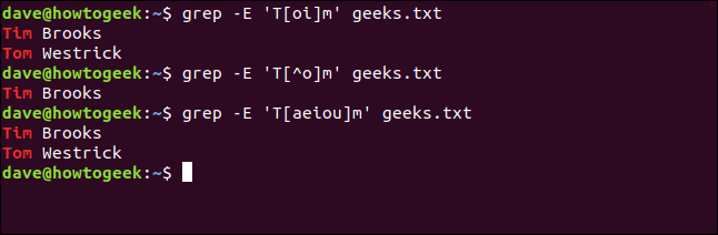 """The """"grep -E 'T[oi]m' geeks.txt"""" and """"grep -E 'T[aeiou]m' geeks.txt"""" commands in a terminal window."""
