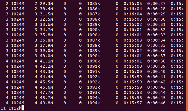 Curl download output in a reattached screen session in a terminal window.