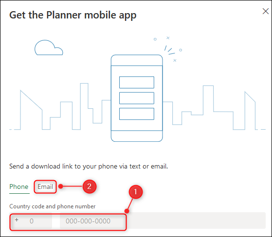 "The ""Get the Planner mobile app"" panel."