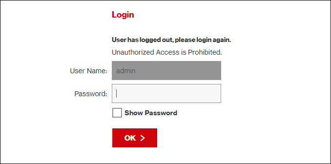 "A router ""Login"" page."