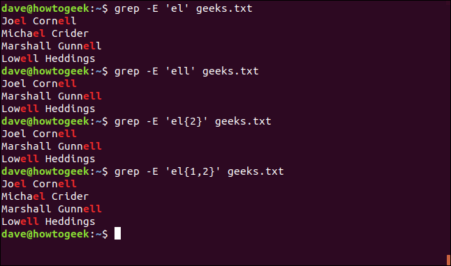 """The """"grep -E 'el' geeks.txt"""" command in a terminal window."""
