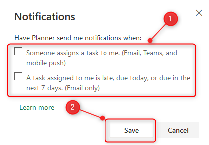 The Planner Notifications options.