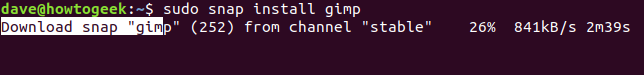 "The ""sudo snap install gimp"" command in a terminal window."