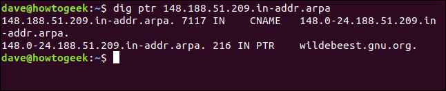 """The """"dig ptr 148.188.51.209.in-addr.arpa"""" command in a terminal window."""