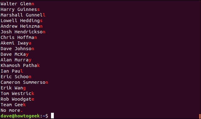 """The output from the """"grep -E '.$' geeks.txt"""" command in a terminal window."""