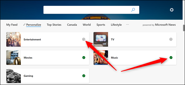 Click the + sign to add a topic and click the green checkmark to remove the topic from your list.