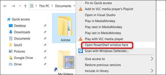 "Click ""Open PowerShell Window Here."""