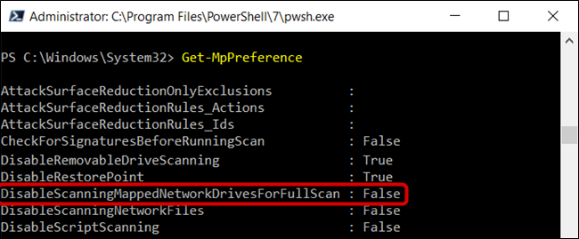 "The ""DisableScanningMappedNetworkDrivesForFullScan"" is set to False."