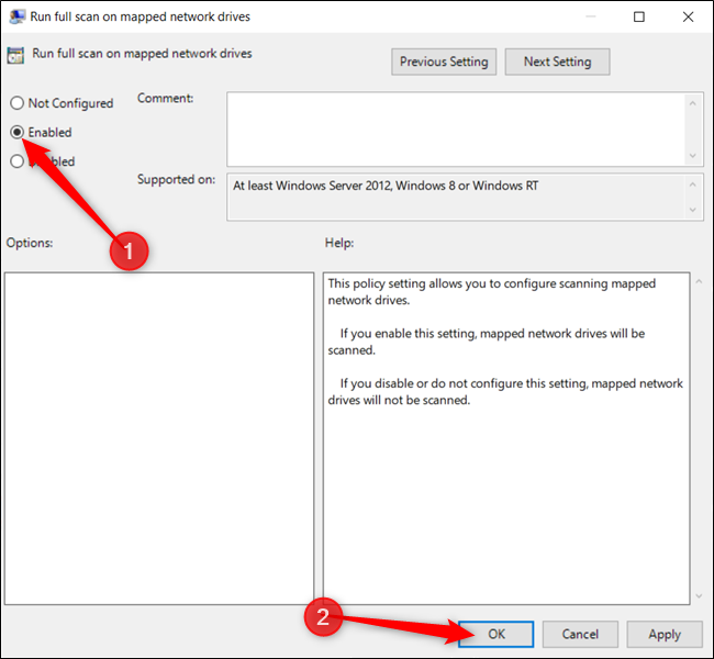 "Enable the setting and click ""OK"" when finished."
