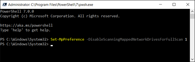 Disabling mapped network drive scans for Defender in PowerShell
