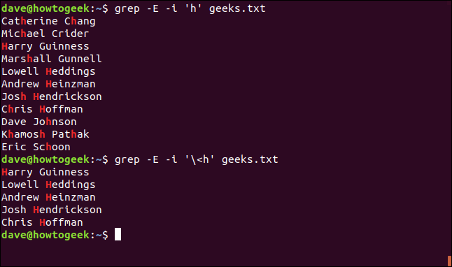 """The """"grep -E -i 'h' geeks.txt"""" command in a terminal window."""