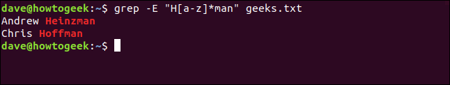 """The """"grep -E 'H[a-z]*man' geeks.txt"""" command in a terminal window."""