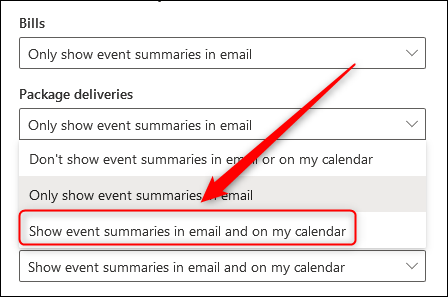 The dropdown displaying the different event summary options.