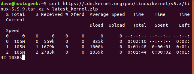 "The output from the ""curl https://cdn.kernel.org/pub/linux/kernel/v5.x/linux-5.5.9.tar.xz > latest_kernel.zip"" command in a terminal window."