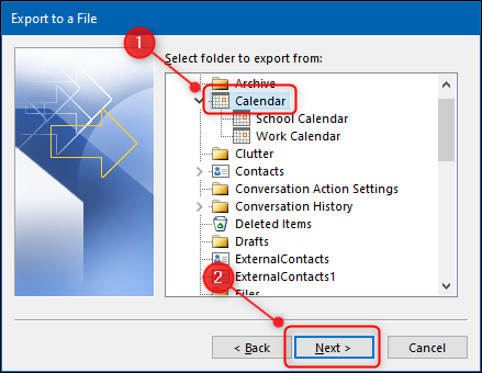 "The ""Import and Export Wizard"" with the Calendar folder highlighted."