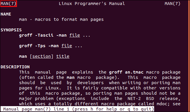 "A ""man"" page open to section seven of the manual in a terminal window."