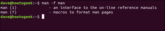 "The ""man -f man"" command in a terminal window."