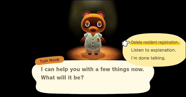 Animal Crossing New Horizons delete user